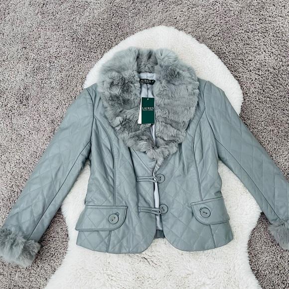 NWT Ralph Lauren Rabbit Fur Trim Leather Jacket